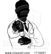 Vector Illustration of Doctor Pointing Needs You Gesture Silhouette by AtStockIllustration