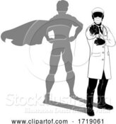 Vector Illustration of Doctor PPE Mask Silhouette Super Hero Shadow by AtStockIllustration