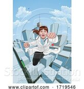 Vector Illustration of Doctor Superhero Flying Comic Book Super Hero by AtStockIllustration