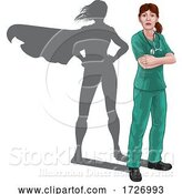 Vector Illustration of Doctor with Hero Shadow by AtStockIllustration