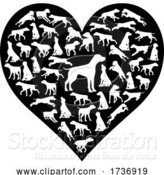 Vector Illustration of Dog Heart Silhouette Concept by AtStockIllustration