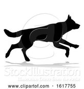 Vector Illustration of Dog Silhouette Pet Animal, on a White Background by AtStockIllustration