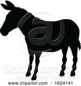 Vector Illustration of Donkey Animal Silhouette by AtStockIllustration