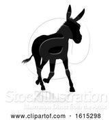 Vector Illustration of Donkey Animal Silhouette, on a White Background by AtStockIllustration