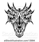 Vector Illustration of Dragon Head in Black and White Woodcut Style by AtStockIllustration