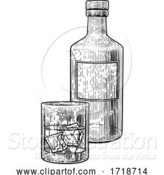 Vector Illustration of Drink with Ice Bottle and Glass Vintage Drawing by AtStockIllustration