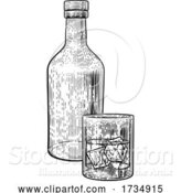 Vector Illustration of Drink with Ice Glass and Bottle Vintage Style by AtStockIllustration
