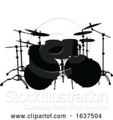 Vector Illustration of Drum Kit Silhouette by AtStockIllustration
