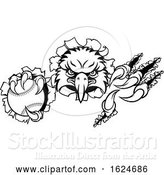 Vector Illustration of Eagle Baseball Mascot Ripping Background by AtStockIllustration