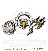 Vector Illustration of Eagle Baseball Mascot Tearing Background by AtStockIllustration