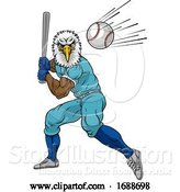 Vector Illustration of Eagle Baseball Player Mascot Swinging Bat at Ball by AtStockIllustration