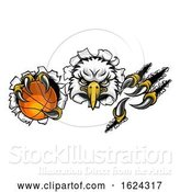 Vector Illustration of Eagle Basketball Mascot Tearing Background by AtStockIllustration