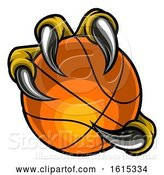 Vector Illustration of Eagle Bird Monster Claw Holding Basketball Ball by AtStockIllustration
