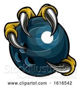 Vector Illustration of Eagle Bird Monster Claw Holding Bowling Ball by AtStockIllustration