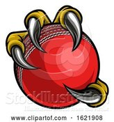 Vector Illustration of Eagle Bird Monster Claw Holding Cricket Ball by AtStockIllustration