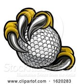Vector Illustration of Eagle Bird Monster Claw Talons Holding Golf Ball by AtStockIllustration