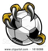 Vector Illustration of Eagle Bird Monster Claw Talons Holding Soccer Ball by AtStockIllustration