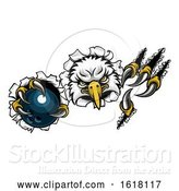Vector Illustration of Eagle Bowling Mascot Ripping Background by AtStockIllustration