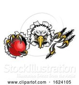 Vector Illustration of Eagle Cricket Mascot Ripping Background by AtStockIllustration