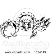 Vector Illustration of Eagle Cricket Mascot Tearing Background by AtStockIllustration