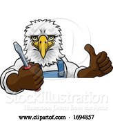 Vector Illustration of Eagle Electrician Handyman Holding Screwdriver by AtStockIllustration