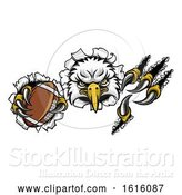 Vector Illustration of Eagle Football Mascot Tearing Background by AtStockIllustration