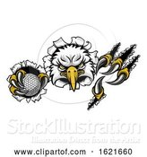 Vector Illustration of Eagle Golf Mascot Ripping Background by AtStockIllustration