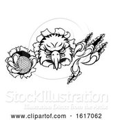 Vector Illustration of Eagle Golf Mascot Tearing Background by AtStockIllustration