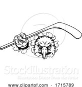 Vector Illustration of Eagle Ice Hockey Player Animal Sports Mascot by AtStockIllustration