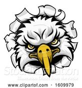 Vector Illustration of Eagle Mascot Face Ripping Through Background by AtStockIllustration