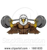 Vector Illustration of Eagle Mascot Weight Lifting Barbell Body Builder by AtStockIllustration