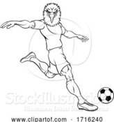 Vector Illustration of Eagle Soccer Football Player Animal Sports Mascot by AtStockIllustration