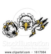 Vector Illustration of Eagle Soccer Mascot Ripping Background by AtStockIllustration