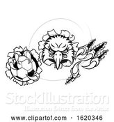 Vector Illustration of Eagle Soccer Mascot Tearing Background by AtStockIllustration