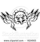 Vector Illustration of Eagle Sports Mascot Ripping Background by AtStockIllustration