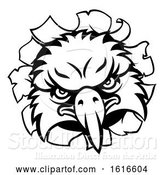 Vector Illustration of Eagle Sports Mascot Tearing Background by AtStockIllustration