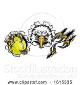 Vector Illustration of Eagle Tennis Mascot Tearing Background by AtStockIllustration