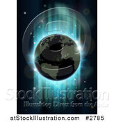 Vector Illustration of Earth Against Green and Blue Northern Lights During an Eclipse by AtStockIllustration