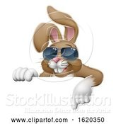 Vector Illustration of Easter Bunny Cool Rabbit Pointing by AtStockIllustration