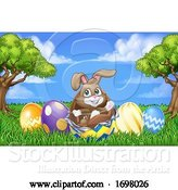 Vector Illustration of Easter Bunny Rabbit Breaking Chocolate Egg Scene by AtStockIllustration