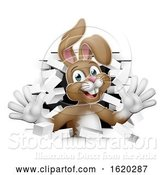 Vector Illustration of Easter Bunny Rabbit Coming out of Background by AtStockIllustration