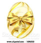 Vector Illustration of Easter Egg Gold Bow Ribbon Design by AtStockIllustration