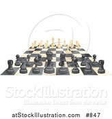 Vector Illustration of Ebony and Ivory Chess Pieces Lined up on a Board During a Chess Game, One Ivory Forward by AtStockIllustration