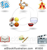 Vector Illustration of Eight Shiny Entertainment, Arts and Sports Icons by AtStockIllustration