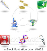 Vector Illustration of Eight Shiny Health Care Icons by AtStockIllustration