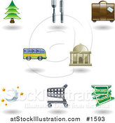 Vector Illustration of Eight Shiny Lodging and Travel Icons by AtStockIllustration
