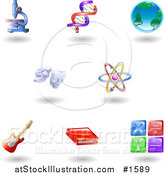 Vector Illustration of Eight Shiny Science, Education and Entertainment Icons by AtStockIllustration