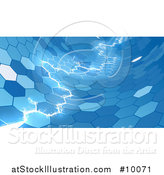 Vector Illustration of Electric Lightning Through a Blue Honecomb Hexagonal Background by AtStockIllustration