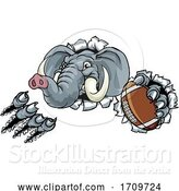Vector Illustration of Elephant American Football Ball Sports Mascot by AtStockIllustration