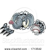 Vector Illustration of Elephant Baseball Ball Sports Animal Mascot by AtStockIllustration